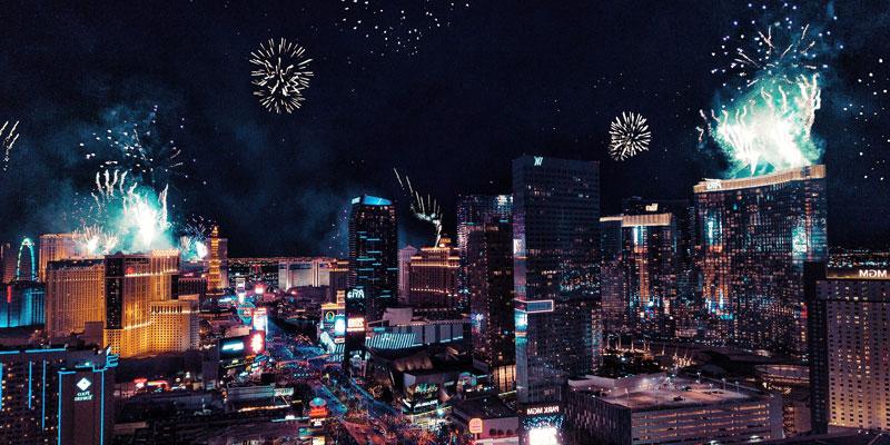 Night Las Vegas with fireworks